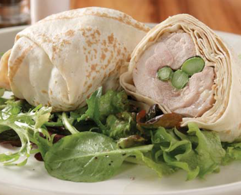 Two-Mountain-Bread-wrapped-rolls-showing-filling-of-chicken-asparagus-and-boccocini-cheese