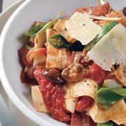 Plate-of-Mountain-Bread-cut-like-pasta-passata-olives-mushrooms-and-basil